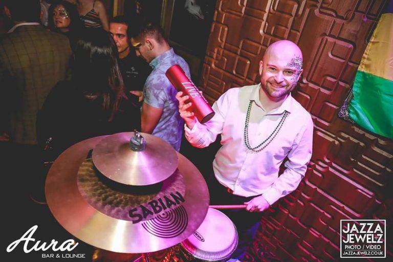 King Konga - percussionist / bongo player at Aura Bar in Kettering