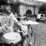 King Konga percussionist / bongo player at Royal William Yard with DancersHip in Plymouth